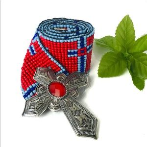 Accessories - Red and blue beaded stretch holy cross belt